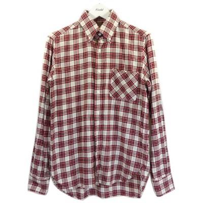 【6月16日値下】cantate 2018SS Check B.DCollor Shirt チェックボタンダウンシャツ レッド×オフホワイト サイズ:
