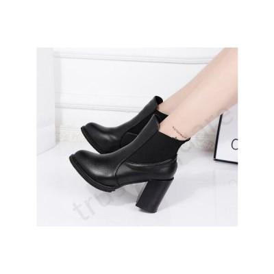 ブーツ ショートブーツ サイドゴアブーツ ブロックヒール 太めヒール ブーティー 合成皮革 PU製 ラバーソール 履きやすい