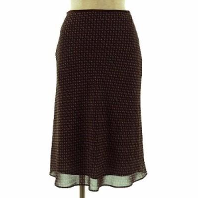 【中古】アンタイトル UNTITLED スカート ひざ丈 フレアー 総柄 ブラウン 茶 オレンジ ホワイト 白 2 レディース
