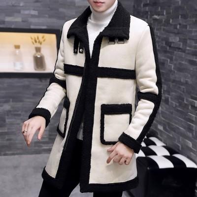 ボアコート ボアジャケット 男性 韓国風 アウター 暖かい 防寒 毛皮コート 上質 上着 防風 メンズ 体型カバー 父の日 オフィス 激安 厚手 フェイクファー 旅行