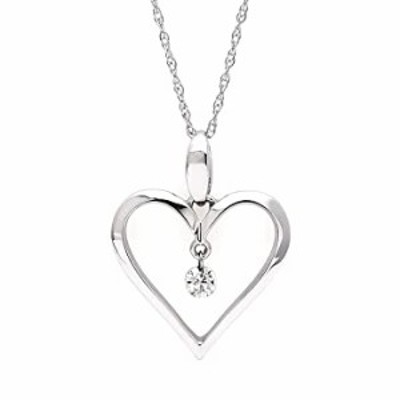 """Brilliance in Motion 14K White Gold Floating Diamond Heart Pendant Necklace, 18"""" (.06 cttw, I Color, I1 Clarity)"""