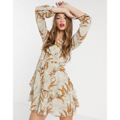 ガールインマインド ミディドレス レディース Girl In Mind wrap front tiered skater dress in tan leaf print エイソス ASOS sale マルチカラー