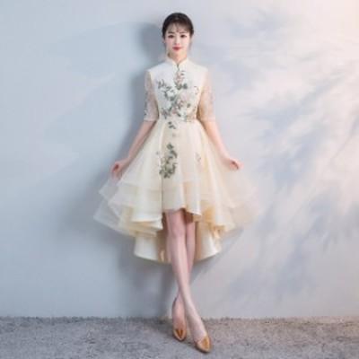 パーティドレス ひざ丈 五分袖 タートルネック 花刺繍 Xライン 透け感 結婚式 フェミニン 二次会 お呼ばれ ドレスワンピ