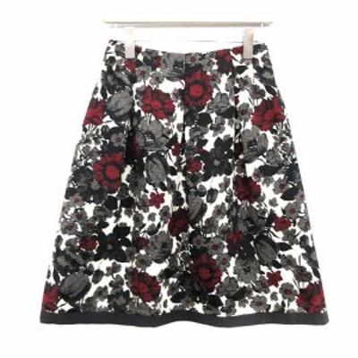 【中古】エムズグレイシー M'S GRACY スカート フレア ひざ丈 花柄 ジャガード 38 マルチカラー サンプル品