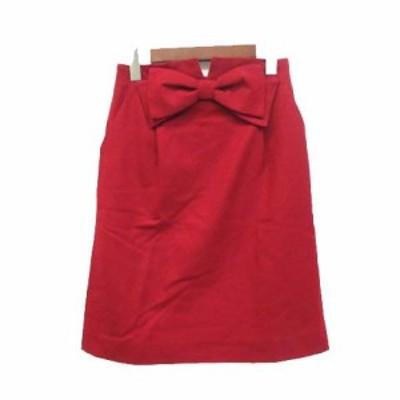 【中古】ボンメルスリー BON MERCERIE スカート 36 S 赤 レッド ウール リボン バックジップ シンプル レディース