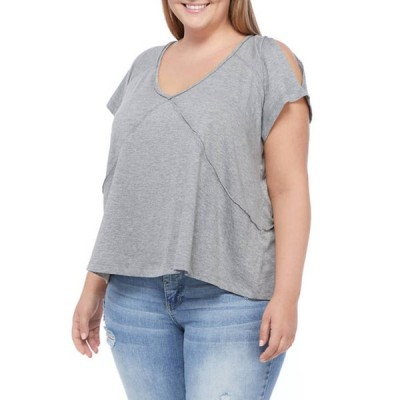 ウァンダリイ レディース Tシャツ トップス Plus Size Tie Dye Cold Shoulder Knit T-Shirt