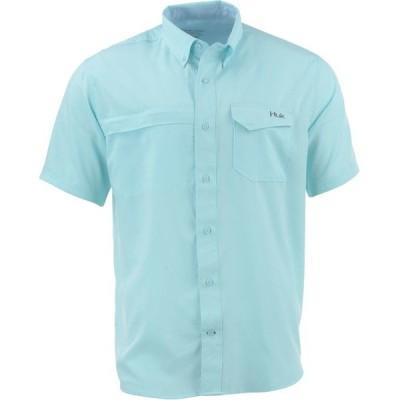 フック シャツ トップス メンズ Huk Men's Tide Point Woven Solid Short Sleeve Button Down Shirt Seafoam