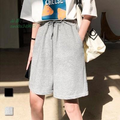ショートパンツ レディース スウェットジャージ ハーフパンツ スウェットパンツ 薄手 5分丈パンツ 半ズボンゆったり サマーパンツ ワイドパンツ