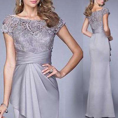 ドレス ディナー スリム グレースモーク 刺繍飾り サイズ豊富