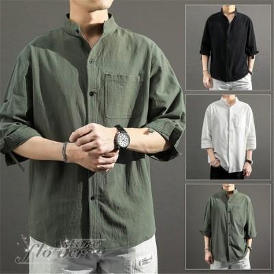 シャツ メンズ ユニセックス ペア 長袖 羽織り 襟付き リネン リネン混 麻 ナチュラル 無地『風合いリネン混シンプルシャツ』