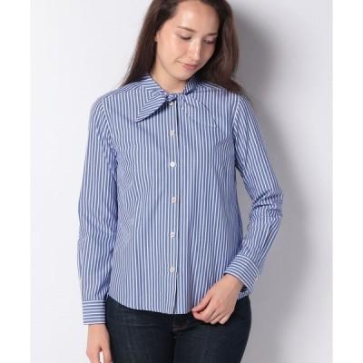 【ラピーヌ ブルー】【TV着用】【洗える】コットンストライプシャツ