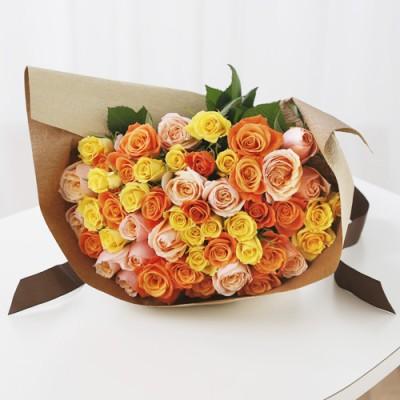 本数が選べる花束 モダンローズ「ミックス・イエローオレンジ」 バラ 薔薇 花 ギフト プレゼント フラワーギフト 贈り物
