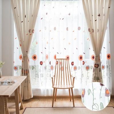 子供部屋 おしゃれ 花柄 かわいい レースカーテン 刺繍 uv オーダー 紐タッセル付き 両開き二枚 植物柄 幅60〜100cm丈60〜100cm 送料無料
