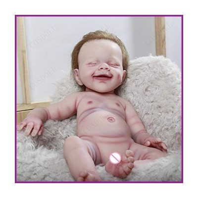 COSDOLL 18.5 inches Platinum Silicone Reborn Baby Dolls 10.36 lb Soft Silicone Newborn Baby Doll Girl Birthday Gift (Standard -Bald)【並
