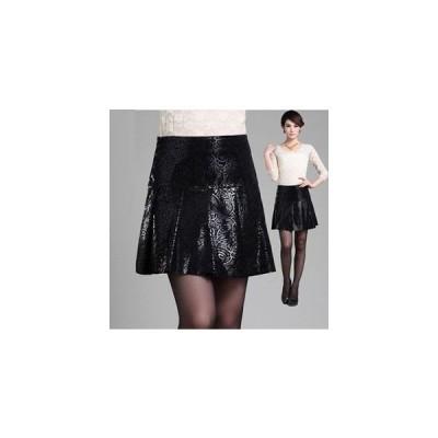 スカート ボトムス レディースショット丈ピッグレザースカート フレアスカート 花柄 裾切りっぱなし ショート丈スカート ミニスカートAライン 6サイズ展開