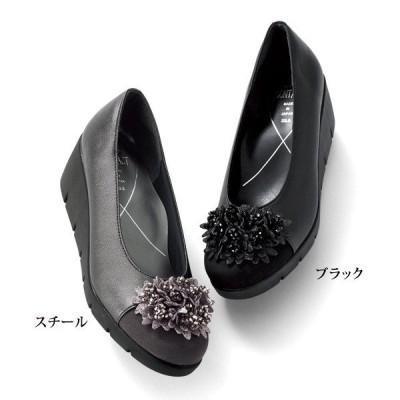 シューズ パンプス レディース / 花モチーフ厚底パンプス / 40代 50代 60代 70代 ミセスファッション シニアファッション 婦人 靴