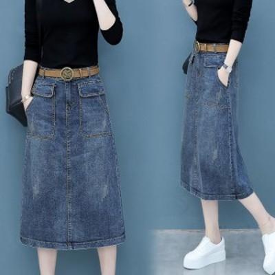 スカート デニムスカート ひざ下 ミモレ丈 ロング 無地 ダメージ 大きいサイズ