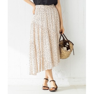 【クミキョク/組曲】 【洗える】シルクタッチプリント ギャザースカート