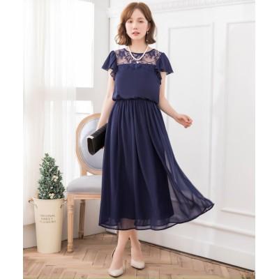 【ドレス スター】 デコルテレースシフォンマキシドレス レディース ネイビー XLサイズ DRESS STAR
