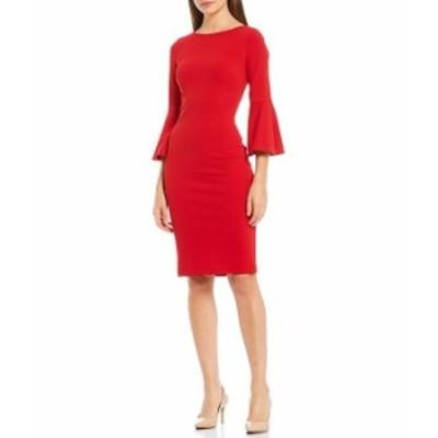 カルバンクライン レディース ワンピース トップス Bell Sleeve Sheath Dress Red