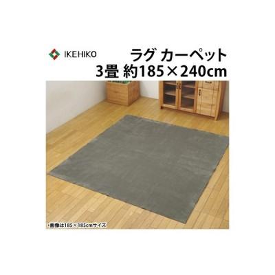 イケヒコ ラグカーペット 3畳 洗える 『イーズ』 グレー 約185×240cm 裏:すべりにくい加工 ホットカーペット対応 3963529