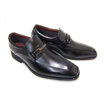 HIROKO KOSHINO/ヒロコ コシノ ビジネス HK4557Z紳士靴 ブラック スワールモカ スリップオン ビット付き ロングノーズ 3Eワイズ  簡易防水 送料無料