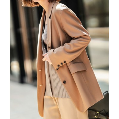 RIVE DROITE / ラフなサイズ感と上品なツヤが女性らしい TRツイルオーバーサイズジャケット(シングル) WOMEN ジャケット/アウター > テーラードジャケット