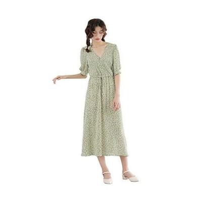 LA-Hazel 花柄 ワンピース レディース ロング丈 小花柄 ウェイスト調整 Vネック ラウンドネック ドレス 半袖 ファッション 上品 女子力
