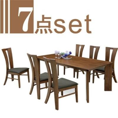 ダイニングテーブルセット モダン レトロ 6人用 7点セット