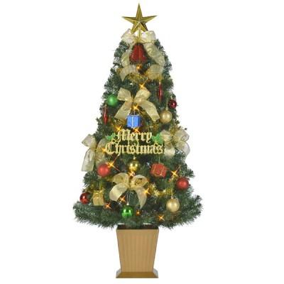 クリスマスツリー セットツリーカラフルゴールド135cm オーナメント付き