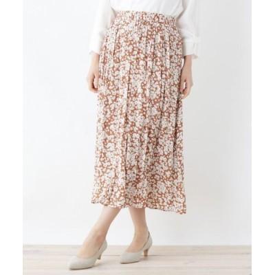 SHOO・LA・RUE/シューラルー 【M-LL】ナイルサテンギャザースカート キャメル(141) 02(M)