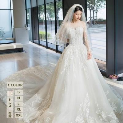 大きいサイズウェディングドレス袖あり白レディースパーティードレスオフショルダードレスお呼ばれドレストレーンドレスふわふわ花嫁披露宴二次会結婚式