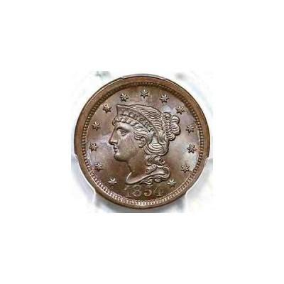 金貨 銀貨 硬貨 シルバー ゴールド アンティークコイン 1854 N-8b PCGS MS 66 BN Braided Hair Large Cen