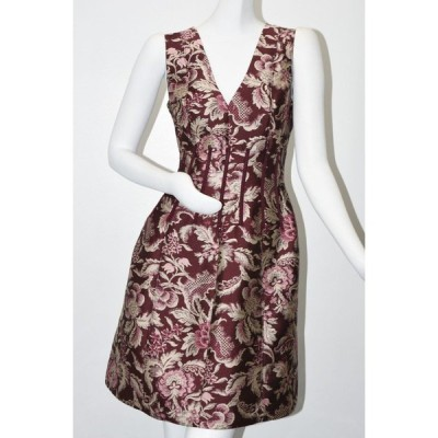 ワンピース オスカーデラレンタ Oscar de la Renta FLORAL DAMASK Silk Satin JACQUARD DRESS Burgundy 8