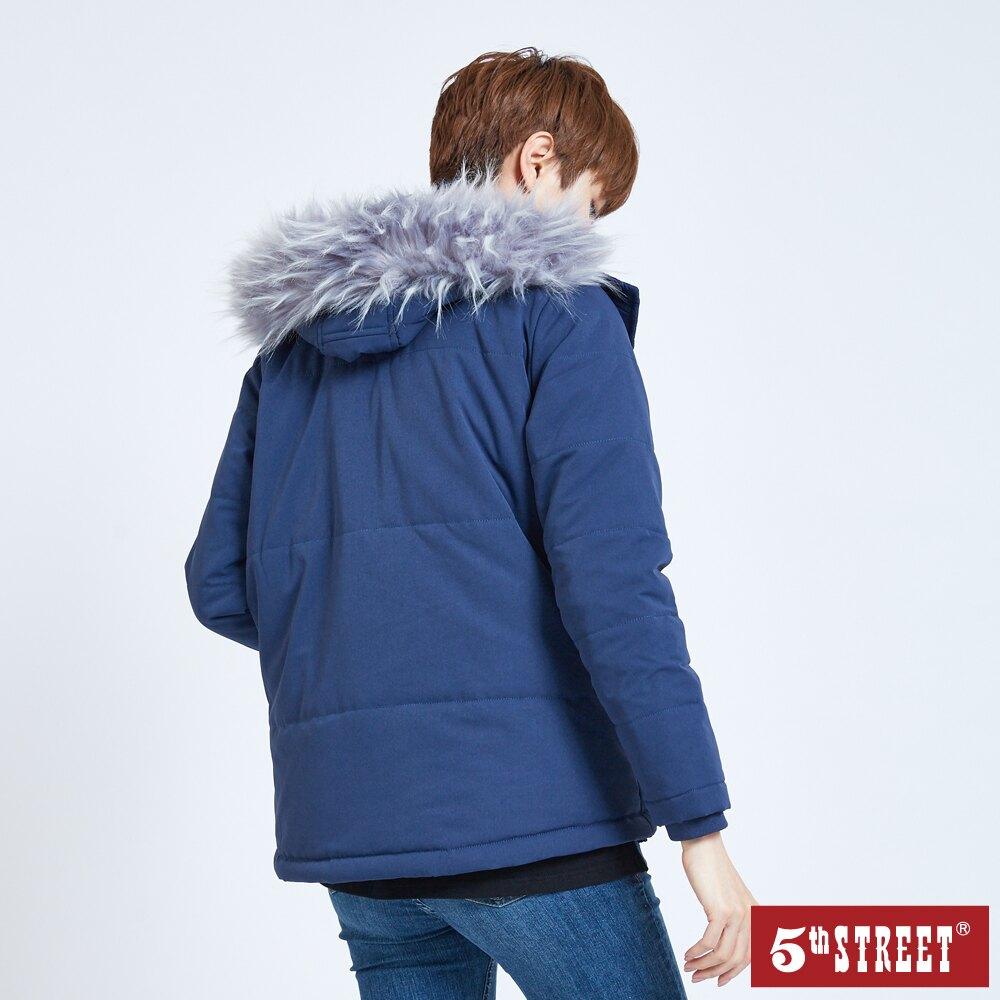 滿額送飲料袋 | 【5th STREET】女寬鬆鋪棉長袖外套-灰藍色