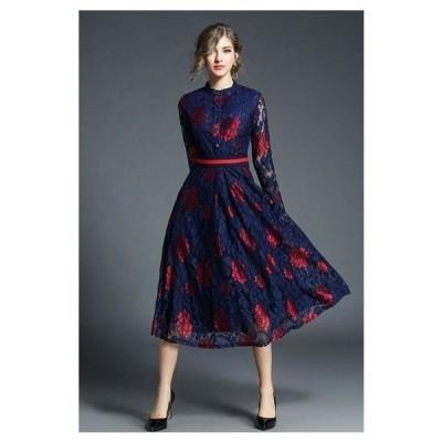 パーティードレス 結婚式 ワンピース Aライン ワンピース 総レース 花柄 上品 エレガント 可愛い フェミニン 韓国ファッション jm1091