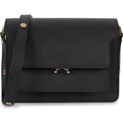 マルニ Marni レディース ショルダーバッグ バッグ Trunk Small Black Leather Shoulder Bag Black
