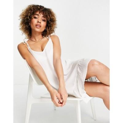 アイラバード ミニドレス レディース Iisla & Bird Exclusive mini beach swing dress in white エイソス ASOS ホワイト 白