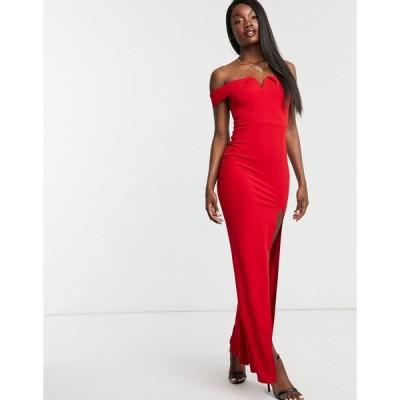 アックスパリス ミディドレス レディース AX Paris bandeau maxi dress with split in red  エイソス ASOS sale レッド 赤