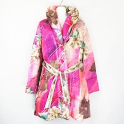 【中古】レオナール LEONARD FASHION 花柄 総柄 絹 シルク ダウンコート  パープル ピンク グレー 38 レディース