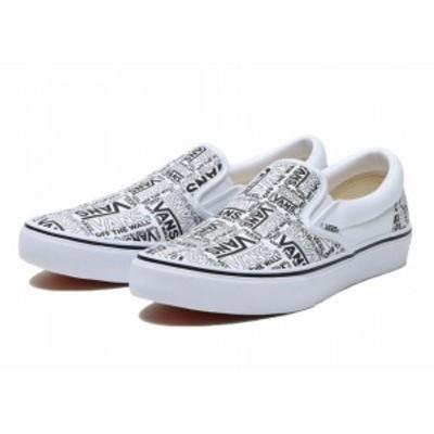 バンズ VANS スリッポン ロゴ 白 黒 V98CF SLIP ON メンズ ヴァンズ ホワイト ブラック スニーカー シューズ 靴
