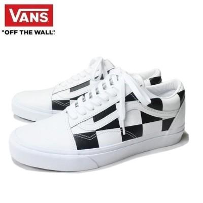 VANS OLD SKOOL (LEATHER CHECK) TRUE WHITE/BLACK バンズ オールドスクール スニーカー