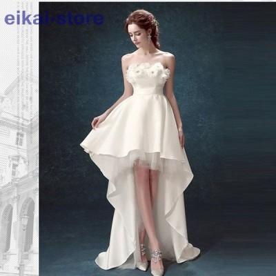 ウェディグドレス ミニ丈ドレス 二次会 花嫁 パーティドレス 結婚式 白 ワンピース 演奏会 大きいサイズ ドレス 発表会 安い トレーン