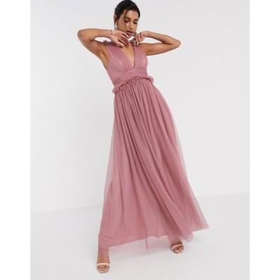 エイソス レディース ワンピース トップス ASOS DESIGN spot tulle mesh plunge pep waist maxi dress