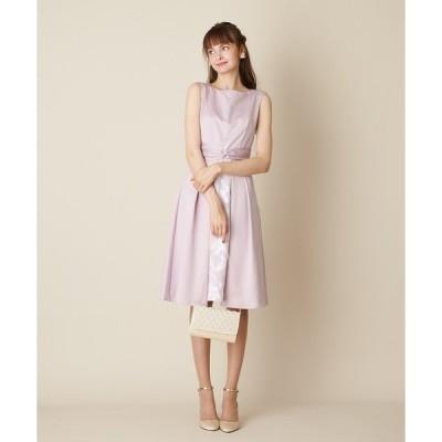 ドレス サテン×オパール ねじりリボンワンピースドレス  / 結婚式・2次会・パーティードレス