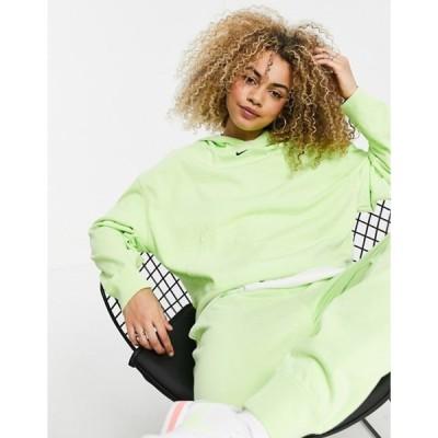 ナイキ レディース パーカー・スウェット アウター Nike washed hoodie in neon green
