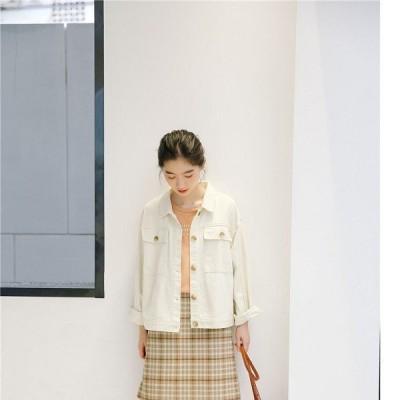 白いデニムジャケット薄手長袖ショートコートレディースシンプル着痩せ春秋物通勤おしゃれモダンレディスファッション婦人服
