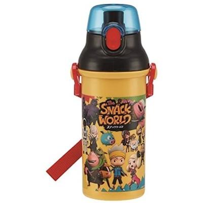 直飲み 水筒 プラワンタッチ ボトル 480ml スナックワールド 日本製 PSB5SAN(イエロー, 480ml)