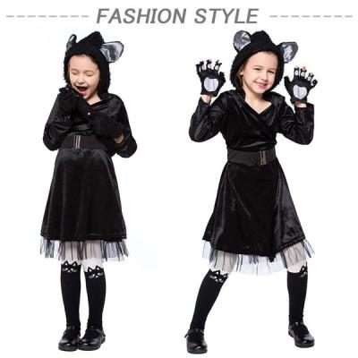 ハロウィン衣装 子供 吸血鬼 猫女仮装小悪魔 コスプレ 万聖節ワンピース 子供用 ジュニア 魔女ウィッチ巫女 ネコ耳