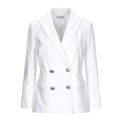 SAULINA Milano テーラードジャケット ホワイト 42 コットン 95% / ポリウレタン 5% テーラードジャケット